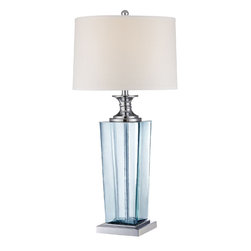 Lite Source - Table Lamp - Blue Glass Body/White Fabric Shade - Table Lamp - Blue Glass Body/White Fabric Shade