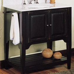 "American Shaker 30"" Vanity - I like the clean lines of this Shaker style vanity. The shelf underneath keeps the piece from feeling to heavy and creates a useful open storage area."