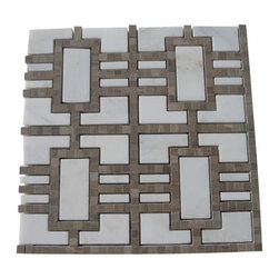 """Lineage Asian Statuary and Athens Gray Tile - Lineage Asian Statuary and Athens Gray Line Marble Tile This marble mosaic will provide endless design possibilities from contemporary to classic. It creates a great focal point to suit a variety of settings. Color: Gray and White Material: Athens Gray and Asian Statuary Finish: Polished Sold by the Sheet- each sheet measures 12""""x12"""" (1 sq.ft.) Thickness: 10 mm"""