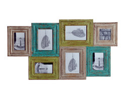 Foreign Affairs Home Decor - Multi-photo frame SATA, 7 panels for display, wall mount - Combine 7 of your favorite photos in this handfinished and antiqued photo frame.