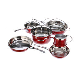 Kevin Dundon 10 Piece Stainless Steel Cookware Set, Red - Set includes: