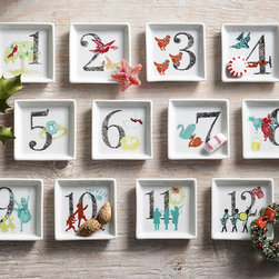 12 Days of Christmas Countdown Porcelain Plates -