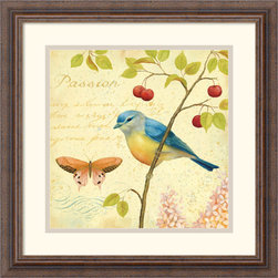 Amanti Art - Garden Passion IV Framed Print by Daphne Brissonnet - Birds and butterflies perched amongst the blossoms and berries in this richly detailed art print. An excellent choice for nature lovers, this image adds quiet beauty to any wall.