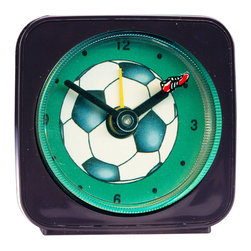 Soccer Alarm Clock - What soccer fan wouldn't love this little animated soccer alarm clock? Made from an original painting, each clock is 2.25'' square with a round face. The little soccer shoe floats magically around the ball as it counts the seconds. Each alarm clock comes in a gift box and includes a free battery. Made in the USA. (Be sure to look for our soccer wall clock and magnets, too!)