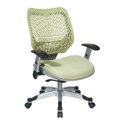 Office Star - Space Seating 86 REVV Series Unique Self Adjusting Kiwi SpaceFlex Back & Raven M - Unique Self Adjusting Kiwi SpaceFlex  Back Managers Chair. Self adjusting SpaceFlex  Backrest Support System with Breathable Kiwi Mesh Seat, One Touch Pneumatic Seat Height Adjustment, Deluxe 2-to-1 Control with 3 Position Lock and Anti-Kick Function, Tilt Tension Adjustment, Height Adjustable Platinum Coated Arms with Soft PU Pads, Heavy Duty Platinum Coated Base with Black End Caps and Dual Wheel Carpet Casters.