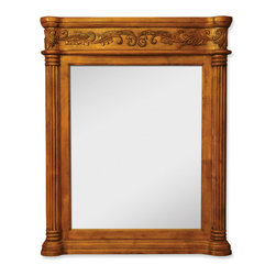 "Hardware Resources - Lyn Design Bathroom Mirror - Walnut Ornate Mirror by Lyn Design 33.6875"" x 42"" golden pecan mirror with hand-carved details and beveled glass. Corresponds with VAN012 and VAN012-T"