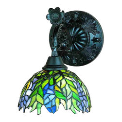 """Meyda Tiffany - 8""""W Tiffany Honey Locust Wall Sconce - The Honey Locust was popular floral design created by Louis Comfort Tiffany, more than a century ago. Decorative dome-shaped stained glass lampshades, with petal shaped edges depict clusters of Plum and Periwinkle flowers amid Spring Green leaves cascading towards the base. This bridge arm accent lamp has a complementary decorative base featuring our Mahogany Bronze finish."""