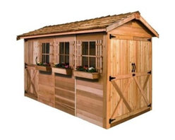 Cedar Shed 16 x 8 ft. Boathouse Garden Shed - Additional features: Complete with one year limited manufacturer's warranty Interior measures 16W x 7.75D x 7.8H ft.Includes 3 non-functional windows Each window measures: 6.25W x 25.25H inches Cedar Dutch door measures 5W x 7H ft. Includes 2 x 4 foot cedar floor joist Also includes decorative shutters and a planter box Assembly is easy with all necessary tools even the bit included Wood arrives pre-cut and ready to build Cedar features natural oils that preserve wood and resist insect damage Includes 2 x 4 foot cedar floor joist decorative shutters and a planter box Season after season the Cedar Shed 16 x 8 ft. Boathouse Wood Storage Shed has you and your boat and anything else you value covered. This attractive and functional shed keeps your investments looking and operating sharp year after year. The cedar construction works to eliminate insect damage and is tough against inclement weather. Complete with room for all your water and fishing accessories like canoes kayaks and more and still save room for the lawnmower. The Dutch doors create a wide opening big enough to maneuver just about anything inside. Ships complete with all the necessary tools for easy comprehensive assembly. About Cedar Shed IndustriesSince 1980 Cedar Shed has grown to be one of the largest specialty cedar product manufacturers in the world. They offer top quality products like gazebos sheds and outdoor furniture all made from high-quality Western Red Cedar. Over the years Cedar Shed has grown developed and matured to the point where they are now shipping thousands of gazebos and garden sheds every year to customers around the world. Why Western Red Cedar?The supremacy of Western Red Cedar as an all-weather building material is entirely natural. Along with its beauty stability and endurance Western Red Cedar contains natural oils that act as preservatives to help the wood resist insect attack and decay. Properly finished and maintained Western Red Cedar ages gracefully and endures for many years. Western Red Cedar is non-toxic and safe for all uses. Over time the wood remains subtly aromatic and the characteristic fragrance adds another dimension to the universal appeal of the Cedar Shed products.