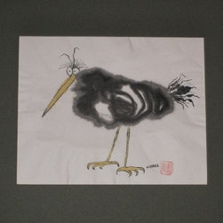 Audrey Mabee, 1970 'Ridiculous Birds I Have Known' Series #1 - Signed watercolor on Chinese rice paper; acid-free mat; overall size 14 w. x 11 h. Please allow additional lead time as this artwork is shipped from Canada (to Seattle), before being shipped to buyer.