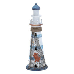 Benzara - Wood Lighthouse in Marine Theme and Beautiful Colors - This fascinating piece of art comes in the form of a miniature lighthouse that is sculpted with exquisite craftsmanship. The lighthouse sculpture can be proudly displayed in shelves and tables across the living room. Made of high quality wood, this lighthouse piece stays anew and strong with time. The broad circular base is shaded in dark blue and bears the whole structure elegantly with great balance and stability. The lighthouse towers high from the base as a multi-tier structure with all windows and enclosures appropriately showcased. Below the top tier is a circular balcony like enclosure with beautiful fencing details. The roof top tapers narrowly and is contrastingly shade in dark blue amidst the white and light blue shading throughout. The fresh colors and intricate detailing adds to the elegance of this wooden lighthouse. The lighthouse recreates seaside inspired theme with ropes, nets and sea-inspired shades of blue.