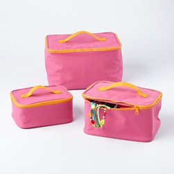 "Pink Zippable Bag Carrying Cases - My daughter is a collector — rocks, shells, bottle caps and ""interesting things"" she finds on the ground at recess. These would be perfect for housing collections, jewelry or toiletries for sleepovers. Buy a set for your daughter, and keep one for yourself!"