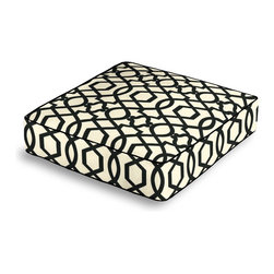 Black Velvet Flocked Trellis Box Floor Pillow - Extra seating that is so good looking you won't want to store it away.  Our Box Floor Pillow is perfect for your next coffee table dinner party, fire place snuggle session, or playroom sleepover.  We love it in this black velvet flocked trellis in on cream cotton that adds subtle texture & warmth to your room.