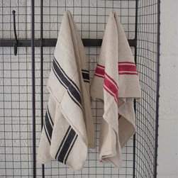 French Inspired Cotton Stripe Dish Towels - A classic, one would find in a French countryside cottage, these striped towels are perfect for everyday kitchen wear or as over-sized napkins for a French inspired dinner party.