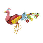 Whimsical Brightly Colored Metal Peacock Garden Statue - This metal peacock sculpture is a cheerful addition to gardens and flower beds. Made of metal, it measures 17 1/2 inches tall, 28 inches long, and 7 1/2 inches wide. It is hand painted in bold, bright colors and has strategically placed, faceted stones for a sparkling accent. It is sure to be admired, and makes a great housewarming gift.