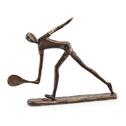 Danya B. - Male Tennis Player Bronze Sculpture - Handcrafted with the sand casting method, this bronze sculpture of a guy playing tennis portrays the dynamic nature of the sport. Great gift or trophy for players and coaches.
