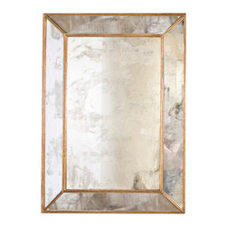 "Worlds Away - Worlds Away - Dion Gold Leaf Antique Mirror - DION G - Worlds Away touches the home with marvelous modern treasures inspired by vintage finishes, patterns and styles. The glamour of Art Deco style is obtainable in the chic Dion mirror, with its magnificent antiqued finish and geometric lines. The rectangle centerpiece is framed by antiqued mirror and finished with goldleaf edging to create a stunning home accent. Hang this looking glass in your bedroom, bathroom or living space for a touch of nostalgic luxury.Features:Dion Gold Leaf Antique MirrorGold Leaf�FinishRectangle centerpiece is framed by antiqued mirrorModern StyleSome Assembly Required Dimensions:�29""W x 2.3""D x 41""H"