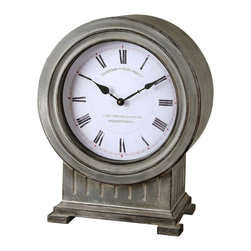 Chouteau Mantel Clock - It recalls a time when London's stately clocks were relied on to signal the hour for a morning breakfast of fresh eggs and fried tomatoes or to display the precise time for an afternoon tea. The Chouteau mantel clock boasts an antiqued, dusty gray finish complemented by gently burnished edges. A striking stand-alone piece, the clock coordinates with the Choteau floor clock.