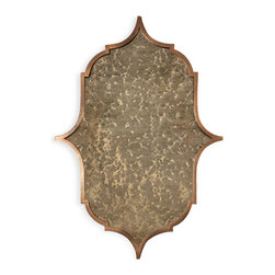 Kathy Kuo Home - Talbot Hollywood Regency Bronze Iron Frame Heavy Antique Mirror - Old World charm is reflected in this ornate, antiqued bronze framed mirror. Enlarge a small space like a hallway or foyer. Add an artistic accent to a bedroom or sitting area. Anywhere this stylish, curvaceous piece is placed will be elegantly enhanced.