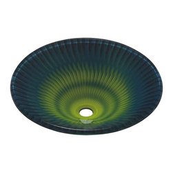 Renovators Supply - Vessel Sinks Green Glass Odyssey Fan Vessel Sink - Glass Vessel Sinks: Double Layer Tempered glass sinks are five times stronger than glass, 3/4 inch thick, withstand up to 350 F degrees,  can resist moderate to high degrees of impact & are stain��_��__��_��__��_��__proof. Ready to install this package includes FREE 100% solid brass chrome-plated pop-up drain, FREE machined 100% solid brass chrome-plated mounting ring & silicone gasket. Measures 18 1/2 in. dia.