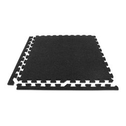 FlooringInc - FlooringInc Eco Soft Carpet Tiles (12 Tiles, 48 Sqft) Foam Carpet Tiles, Black - Description - Our interlocking economy soft carpet tiles are an ideal choice for a low cost carpet tile. These discount tiles are light weight, easy to install, and portable. These tiles are also slightly less durable than our standard soft carpet tiles and therefore have a lower price. A good rule of thumb when determining which carpet tile grade would work best for you is that these economy grade tiles will start to show some wear and tear after a few trade shows where as our premium carpet tiles will take 10-20 shows to start showing any wear and tear typically. Our economy grade carpet tiles also have a high density EVA foam backing to help provide comfort and cushion under foot. Our customers tell us this helps them immensely when they are stuck on their feet for many hours on end. Even though these carpet tiles are cheap in cost, they also have many of the same benefits of our premium carpet floor tiles in that they are also waterproof, sound absorbing, and help insulate users from cold concrete sub floors. Each economy soft carpet tile also comes with detachable border pieces. This means that each carpet floor tile can be a border, center, or corner tile.