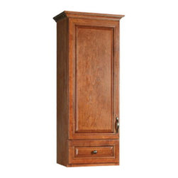 DHI-Corp - Montclair Chestnut Glaze Linen Tower Vanity Cabinet with 1-Door and 1-Drawer - The Design House 540864 Montclair Chestnut Glaze Linen Tower Vanity Cabinet is made of solid wood door and drawer frames and finished in a chestnut glaze with a water resistant coat. This product features oil rubbed bronze hardware, particle board side panels and concealed hinges. Easily adjust shelves inside this cabinet to store your personal items and reversible doors make installation easy. Measuring 49-inches by 14.5-inches by 18-inches, this cabinet fits in a medium sized bathroom while providing storage for towels and cleaning supplies. With its ball bearings, the full extension drawer glides open smoothly. This product comes pre-assembled and features a modern aesthetic that matches traditional furnishings and granite tops. The Design House 540864 Montclair Chestnut Glaze Linen Tower Vanity Cabinet has a 1-year limited warranty that protects against defects in materials and workmanship. Design House offers products in multiple home decor categories including lighting, ceiling fans, hardware and plumbing products. With years of hands-on experience, Design House understands every aspect of the home decor industry, and devotes itself to providing quality products across the home decor spectrum. Providing value to their customers, Design House uses industry leading merchandising solutions and innovative programs. Design House is committed to providing high quality products for your home improvement projects.