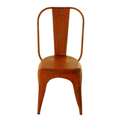 Kathy Kuo Home - French Iron Rustic Orange Cafe Chair - The orange color of this French iron cafe seat will give your modern living space a cheerful accent. Surround a reclaimed wood dining table with several of these hand-painted metal beauties, or slide one up to your writing desk to complete the look of your industrial loft.