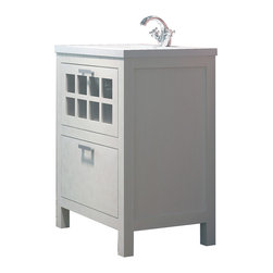Macral - Niza 32 inch Bathroom Vanity, White Matte - Small vanity suitable for powder room, bath down upstairs or any small bathroom.