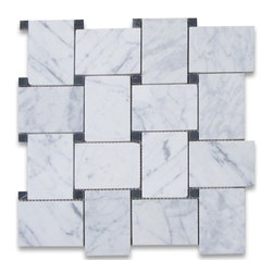 Stone Center Corp - Carrara Marble Large Basketweave Mosaic Tile Black Dots Honed - Premium Grade Basketweave White Carrara Marble Mosaic tiles. Italian Bianco Carrera White Venato Carrara Honed Large Basket Weave Mosaic w/ Black Dots Wall & Floor Tiles are perfect for any interior/exterior projects. The Carrara White Marble 2 1/4 x 3 1/8 inch Basketweave Mosaic tiles with Nero Marquina Black Dots can be used for a kitchen backsplash, bathroom flooring, shower surround, countertop, dining room, entryway, corridor, balcony, spa, pool, fountain, etc.