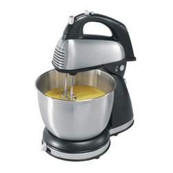 Hamilton Beach - Stand/Hand Mixer - This brushed Stainless Steel Stand Mixer with six speeds and QuickBurst button makes mixing easy with 290 Watts of peak power. 4 Qt. Shift & Stir bowl is Stainless Steel. Versatile attachment set includes traditional beaters, whisk and dough hooks. Plus, it doubles as a hand mixer with Bowl Rest stabilizer.