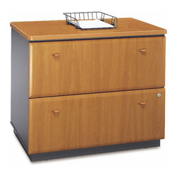 Bush Business - Lateral Filing Cabinet in Cherry Colored - Se - This attractive Medium Cherry Stained Lateral File Cabinet has adjustable levelers and a door interlock system to reduce the chance of tipping.  An interchangeable lock core offers privacy and flexibility, while ball bearing drawer glides provide full extension and smooth operation.  When you need a lot more file space, consider this unique and attractive alternative.  The Lateral File Cabinet, finished in Medium Cherry, offers a scratch-resistant surface and easy glide drawers.  We all know that a filing cabinet is a necessary part of the office, but it doesn't have to detract from the beauty of professionalism of your office. * Drawers hold letter, legal or A4-size files. Interlocking drawers reduce likelihood of tipping. Gang lock with interchangeable core affords privacy and flexibility. Full-extension, ball bearing slides allow easy file access. Matches height of Desks for side-by-side configuration. Levelers provide stability on uneven floors. Vinyl-clad drawer fronts are durable and easy to clean. 35.669 in. W x 23.346 in. D x 29.764 in. H