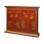 """China Furniture and Arts - Chinoiserie Wall TV Cabinet - Mountainous peaks and blossoming trees populate the landscapes illustrating the charm and drama of Chinoiserie. Interpretive motifs exquisitely hand painted in gold on hardwood then finished in multiple coats of lacquer. This beautiful cabinet is designed to house your flat screen TV on the wall. Double-hinged doors fold to the sides for unobstructed viewing. Mounting wares included. Matte red finish. Interior measures approximately 39""""W x 6.75""""D x 29.75""""H."""