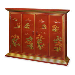 "China Furniture and Arts - Chinoiserie Wall TV Cabinet - Mountainous peaks and blossoming trees populate the landscapes illustrating the charm and drama of Chinoiserie. Interpretive motifs exquisitely hand painted in gold on hardwood then finished in multiple coats of lacquer. This beautiful cabinet is designed to house your flat screen TV on the wall. Double-hinged doors fold to the sides for unobstructed viewing. Mounting wares included. Matte red finish. Interior measures approximately 39""W x 6.75""D x 29.75""H."
