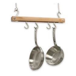 None - J.K. Adams Natural Mini Bar Pot Rack - Store up to four of your best frying pans or other cookware on this simple pot rack. The natural wood bar is strong enough to support thick and heavy metal pots. This rack can be mounted just eight inches from the ceiling to save space.