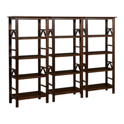 Linon - Linon Titian Wall Bookcase in Antique Tobacco - Linon - Bookcases - 86150ATOB01KDUPKG - Linon Titian Bookcase in Antique Tobacco (included quantity: 3) The Titian Collection has a simple yet eye catching design that is matched with incredible durability. The Bookcase features four shelves that provide ample storage and display space. A neutral, classic Antique Tobacco finish allows this piece to easily complement your homes decor.