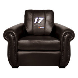 Dreamseat Inc. - Matt Kenseth #17 NASCAR Chesapeake Black Leather Arm Chair - Check out this Awesome Arm Chair. It's the ultimate in traditional styled home leather furniture, and it's one of the coolest things we've ever seen. This is unbelievably comfortable - once you're in it, you won't want to get up. Features a zip-in-zip-out logo panel embroidered with 70,000 stitches. Converts from a solid color to custom-logo furniture in seconds - perfect for a shared or multi-purpose room. Root for several teams? Simply swap the panels out when the seasons change. This is a true statement piece that is perfect for your Man Cave, Game Room, basement or garage.