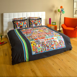 """ARTnBED - Bohemian Duvet Cover - """"Hindley street"""" - Action, atmosphere and nightlife - Hindley street is the place where things happen in Adelaide, Australia. There is something for everyone, and it is all here on this dynamic duvet cover with a large digital print of the painting """"Hindley Street"""" by the artist Marie Jonsson-Harrison. Colorful and full of life - Marie paints everything she sees in her vibrant, not-to-be missed style. With this duvet in your bedroom, you'll wake with a smile every morning."""