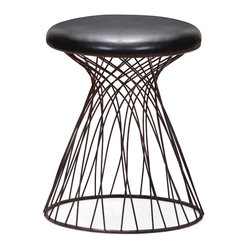 Zuo Modern Contemporary, Inc. - Spike Stool Rusted metal frame & Black - A whirling tornado of rustic black metal wire marks the clever Spike Stool. A black leatherette cushion adds comfort while the wide base adds stability. A perfect stool for a music studio.