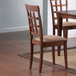 Coaster - Mix and Match Collection Wheat Back Walnut Chair in Walnut, Set of 2 - This lovely dining side chair will be a great addition to your casual contemporary dining ensemble. The chair has a high back with an open grid pattern for a distinctive style, above sleek square tapered legs. A padded seat covered in soft deep mocha colored microfiber adds to the comfort and durability of this chair. Pair with a table from this collection for a stylish look that fits your space.