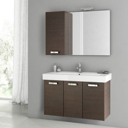 ACF - 40 Inch Wenge Bathroom Vanity Set - This four piece vanity set was made in Italy by designer ACF. Utilizing a contemporary design, this set includes a 37 inch vanity cabinet, bathroom sink, mirror and short storage cabinet. Part of the ACF Cubical collection, the set mounts to your bathroom wall, ideally in a master bathroom setting. It comes in a wenge finish. Set Includes:. Vanity Cabinet (3 Doors). High-end fitted ceramic sink. Wall mounted vanity mirror. Tall storage cabinet. Vanity Set Features . Vanity cabinet made of engineered wood. Cabinet features waterproof panels. Vanity cabinet in wenge finish. Vanity cabinet features three easy-to-open doors. Chrome door handles elegantly complete vanity surface. Faucet not included. Perfect for modern bathrooms. Made and designed in Italy. Includes manufacturer 5 year warranty.