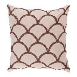 Surya Rugs - 22-Inch Square Brown and Peach Cream Pillow Cover with Down Insert - - 22 x 22 40% Cotton Pillow Cover w/ Down Insert.   - For more than 35 years, Surya has been synonymous with high quality, innovation and luxury.   - Our designers have masterfully created some of the most cutting edge and versatile pieces to bring out the best in every room.   - Encompassing their expert understanding of the latest trends in fashion and interior design, each product is a perfect combination of color, pattern and texture to accommodate the widest range of tastes.   - With Surya, the best in design and quality is at your fingertips.   - Pantone: Brown, Peach Cream.    - Made in India.   - Care Instructions: Spot Clean.   - Cover Material: 40% Cotton.   - Fill Material: Down. Surya Rugs - COM011-2222D