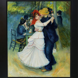 overstockArt.com - Renoir - Dance at Bougival Oil Painting - Hand painted oil reproduction of a famous Renoir painting, Dance at Bougival. The original masterpiece was created in 1883. Today it has been carefully recreated detail-by-detail, color-by-color to near perfection. In the 1870's Renoir's Impressionist technique reached its peak, with glorious accomplishment. His fully defined technique rendered facial expressions and movements masterfully. Renoir often used his friends and acquaintances such as fellow artists and writers. He spent weeks and sometimes months perfecting his paintings. Why not grace your home with this reproduced masterpiece? It is sure to bring many admirers!
