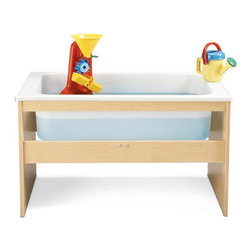 Young Time - Young Time Sensory Table - Toys not included. Includes opaque tub. Durable laminate surface. Rounded corners. Thermo-fused edgebanding. Safety tested product. Greenguard Children and Schools SM indoor air quality certified. CPSIA and CARB compliant. Warranty: 1 year. Made in USA. Assembly required. 23 in. W x 36.5 in. D x 21.5 in. H (31 lbs.)Young Time is for budget-minded buyers seeking to get the most for their classroom furniture dollar. Young Time offers affordable, American-made early learning furniture designed with a focus on the functionality you need most!