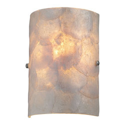 Lite Source - Wall Sconce, Ps/Shell Glass Shade, E12 Type B 40W - Wall Sconce, Ps/Shell Glass Shade, E12 Type B 40W