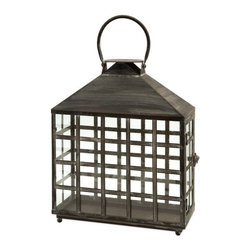 "IMAX - Drake Wide Candle Lantern - Oriental style wide candle lantern with straight lines creating small window panes topped with a handle.  Holds two pillar candles. Item Dimensions: (12.75""h x 15.75""w x 5.25"")"