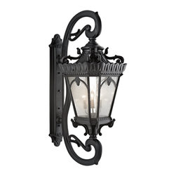 Kichler Lighting - Kichler Lighting 9362BKT Tournai Traditional Outdoor Wall Sconce - With its heavy textures, dark tones, and fine attention to detail, this 5 light outdoor wall fixture from the Tournai collection stands out from other outdoor fixtures. Handmade from cast aluminum, its distinctive Textured Black finish and Clear Seedy Glass panels give this piece a unique aged look.