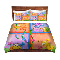DiaNoche Designs - Duvet Cover Twill - Flowery - Lightweight and soft brushed twill Duvet Cover sizes Twin, Queen, King.  SHAMS NOT INCLUDED.  This duvet is designed to wash upon arrival for maximum softness.   Each duvet starts by looming the fabric and cutting to the size ordered.  The Image is printed and your Duvet Cover is meticulously sewn together with ties in each corner and a concealed zip closure.  All in the USA!!  Poly top with a Cotton Poly underside.  Dye Sublimation printing permanently adheres the ink to the material for long life and durability. Printed top, cream colored bottom, Machine Washable, Product may vary slightly from image.