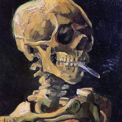 "Vincent Van Gogh A Skull with Burning Cigarette  Print - 18"" x 24"" Vincent Van Gogh A Skull with Burning Cigarette premium archival print reproduced to meet museum quality standards. Our museum quality archival prints are produced using high-precision print technology for a more accurate reproduction printed on high quality, heavyweight matte presentation paper with fade-resistant, archival inks. Our progressive business model allows us to offer works of art to you at the best wholesale pricing, significantly less than art gallery prices, affordable to all. This line of artwork is produced with extra white border space (if you choose to have it framed, for your framer to work with to frame properly or utilize a larger mat and/or frame).  We present a comprehensive collection of exceptional art reproductions byVincent Van Gogh."