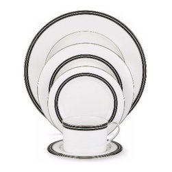 kate spade new york - Kate Spade New York Union Street Saucer - A combination of white raised stitches, black banding, and elegant platinum detail adores our Union Street Saucer by kate spade new york. Crafted of bone china the saucer gives a unique presentation to your table.