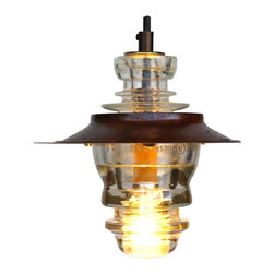 """Railroadware /American Remade Collection - Suspended Insulator Light LED Pendant 7"""" Metal Hood - 120V, 3W - Suspended Insulator Light LED Pendant 7"""" Metal Hood - 120V, 3W bulb, dimming is the perfect up-cycled lighting choice for that rustic or modern interior. Insulator Lights are regionally sourced, made in the USA meeting and all NEC Standards and can be tested & UL labeled if needed. The pendant comes ready to hang with state of the art 120V LED 3W bulb technology. The insulator is easily removed for cleaning etc."""