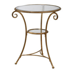 Uttermost - Maia Accent Table - Reminiscent of a style popular in French gardens and parks, this little iron, glass and gold-leafed accent table has a lot of panache. Perfect for a cold drink on a hot day, a good book and cup of coffee or in a atrium for a prized plant, this table, indoors or out, will make its mark.